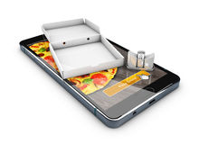 3d illustration of Smartphone with pizza of box, Online Food Delivery. 3d illustration of Smartphone with pizza of box. Online Food Delivery Stock Images