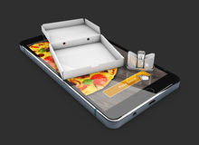 3d Illustration of Smartphone with pizza of box, salt and pepper shaker. Online Food Delivery. 3d Illustration of Smartphone with pizza of box, salt and pepper Royalty Free Stock Image