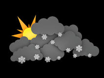 3d illustration of Snowflakes, Rainclouds and Sun on black background.  Royalty Free Stock Photography