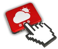Snowing Day Icon. 3D illustration of Snowing Day Icon - Hand Cursor Click Royalty Free Stock Image