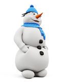 3d illustration snowman in blue hat and scarf on a white Royalty Free Stock Image