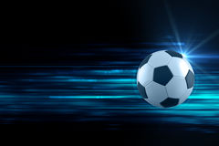 3d illustration of soccer ball in blue light streak background Royalty Free Stock Images