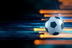 3d illustration of soccer ball in blue light streak background Stock Images
