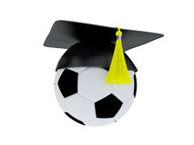 3D Illustration of Soccer Ball With Graduation Cap isolated on white. Royalty Free Stock Photography
