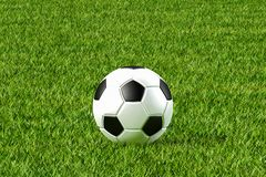 Soccer ball and Grass ground. 3d illustration of Soccer ball and Grass ground stock images