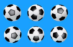 D illustration of soccer ball isolated on blue background created without reference images. D illustration of a typical black and white soccerball stock images