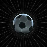3d illustration of soccer ball with rim light and glowing seams. with thin white rays radial pattern around. on black. Background stock illustration