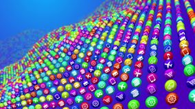 Social News Balls on Uneven Surface. 3d illustration of social media news ball lying on uneven surface. They look like a sea bottom in some cyberspace ocean. The Royalty Free Stock Photos