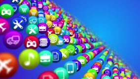 Social media news balls in diagonal rows. 3d illustration of social media services in billiards balls placed in diagonal rows. All balls are covered with icons Royalty Free Stock Photo