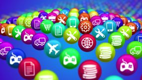 Social media news balls in advancing rows. 3d illustration of social media services in billiards balls put offencing lines. All balls are differently shaped Stock Image