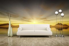 Photo wall mural sunset. 3D illustration of a sofa in front of a photo wall mural sunset royalty free stock images