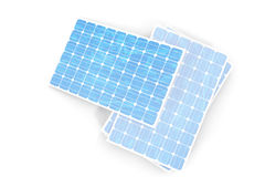 3D illustration solar power generation technology. Blue solar panels. Concept alternative electricity source. Eco energy Stock Images