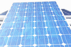 3D illustration solar power generation technology. Blue solar panels. Concept alternative electricity source. Eco energy Stock Image