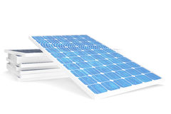 3D illustration solar power generation technology. Blue solar panels. Concept alternative electricity source. Eco energy. Clean Energy isolated on white stock illustration