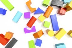 Some colorful building blocks background. 3d illustration of some colorful building blocks background Stock Photos