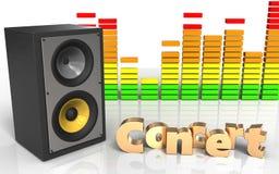 3d sound system concert sign. 3d illustration of sound system over white background with concert sign Stock Images