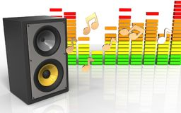 3d sound system sound system. 3d illustration of sound system over white background with notes Royalty Free Stock Photo