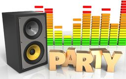 3d audio spectrum party sign. 3d illustration of sound system over white background with party sign Royalty Free Stock Images