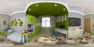 3d illustration spherical 360 degrees, seamless panorama of chil Stock Photos