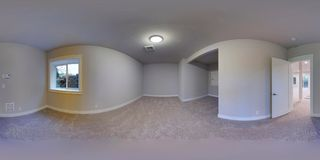3d illustration spherical 360 degrees, seamless panorama of a house stock photo