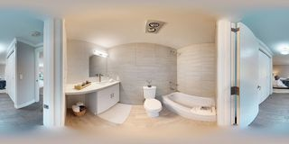 3d illustration spherical 360 degrees, a seamless panorama of hallway stock photos