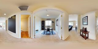 3d illustration spherical 360 degrees, a seamless panorama of home interior. 3d illustration spherical 360 degrees, a seamless panorama of hallway with open stock photos
