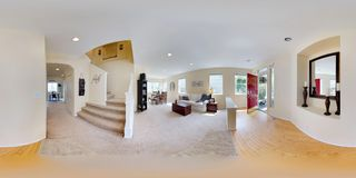 3d illustration spherical 360 degrees, a seamless panorama of home interior. 3d illustration spherical 360 degrees, a seamless panorama of Light and cozy stock photo