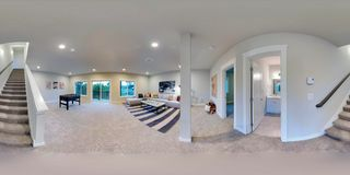 3d illustration spherical 360 degrees, seamless panorama of a house stock photos