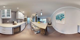 3d illustration spherical 360 degrees, a seamless panorama of kitchen. 3d illustration spherical 360 degrees, a seamless panorama of white compact kitchen in royalty free stock photography