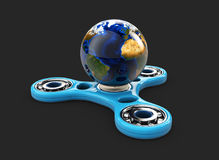 3d Illustration of spinner toy with earth view.  Royalty Free Stock Photo