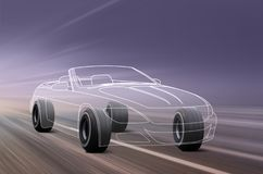 3D illustration of sport car. Car outline and wheels rushes on road with high speed royalty free illustration