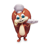 Squirrel is in a chef dress with dish Royalty Free Stock Photos