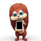 Squirrel with ipad on white background Stock Images