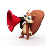 Squirrel with loudspeaker. 3d illustration of squirrel with loudspeaker isolated on white background Royalty Free Stock Images