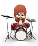 Squirrel playing drums Royalty Free Stock Images