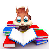 Squirrel reading books Stock Photography