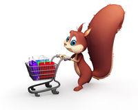 Squirrel with shopping bags isolated on white background Royalty Free Stock Photo