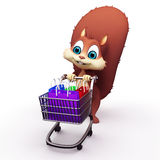 Squirrel with shopping trolley Royalty Free Stock Image