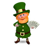 3D illustration St Patrick med dollar för en fan stock illustrationer
