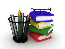 3D illustration of stack of books with glasses on top Stock Photography