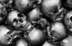 3D illustration Stack of human skulls. 3D illustration Stack of human skulls, dead and war concept Stock Images