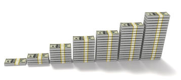 3d illustration Stacks of $100 dollar bills. Arranged in progression Royalty Free Stock Photography