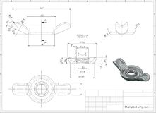 3d illustration of stamped wing nut stock images