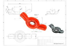 3d illustration of stamped wing nut royalty free stock image