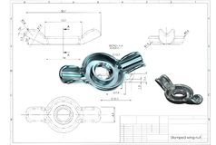3d illustration of stamped wing nut stock photos