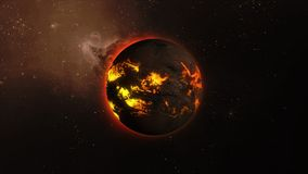 3d illustration of a star with lava flows on a surface in space. A dark star with streams of red-orange lava rotates in space Royalty Free Stock Photo