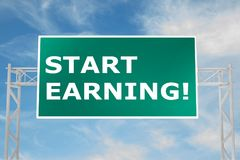 Start Earning! concept. 3D illustration of START EARNING! script on road sign Royalty Free Stock Photo