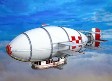 3D Illustration of steampunk airship flying in clouds. On vivid blue sky Stock Photography