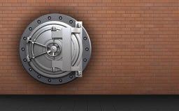 3d blank safe. 3d illustration of steel bank door  over red bricks background Stock Image