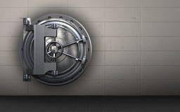 3d steel door steel door. 3d illustration of steel door  over iron wall background Stock Photos